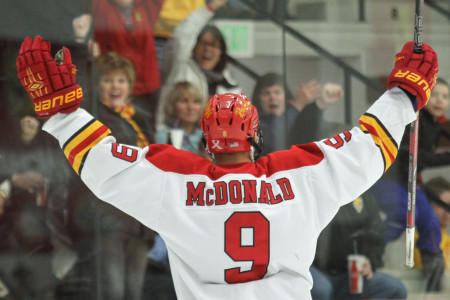 Freshmen forward Chad McDonald celebrates following his team leading third shorthanded goal of the year against Northern Michigan. Ferris State Hockey is now five points from their first ever WCHA regular season title. (Photo By Brock Copus)