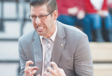 Men's Basketball head coach Andy Bronkema expresses himself on the sideline during a Ferris State Victory.
