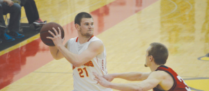 Bulldog guard #21 Drew Lehman's 20 points helped Ferris to topple Saginaw Valley State for the second time this past weekend.